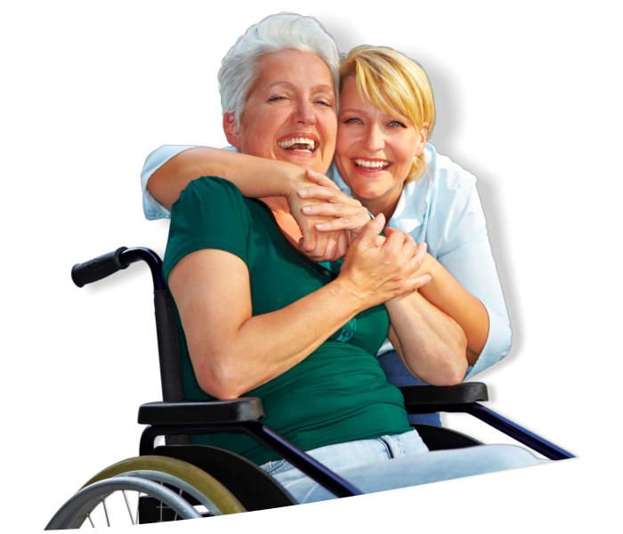 A caregiver hugging an elderly sitting on a wheelchair